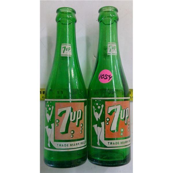 2 - Vintage 7oz 7Up Bottles Green