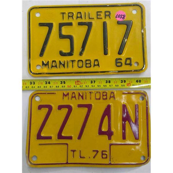 1964 & 1976 Manitoba Trailer Plates