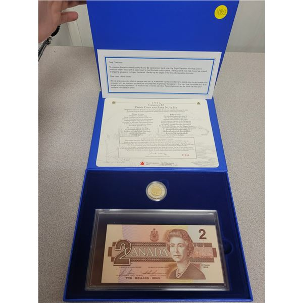 1996 Canada's $2 proof coin & bank note set