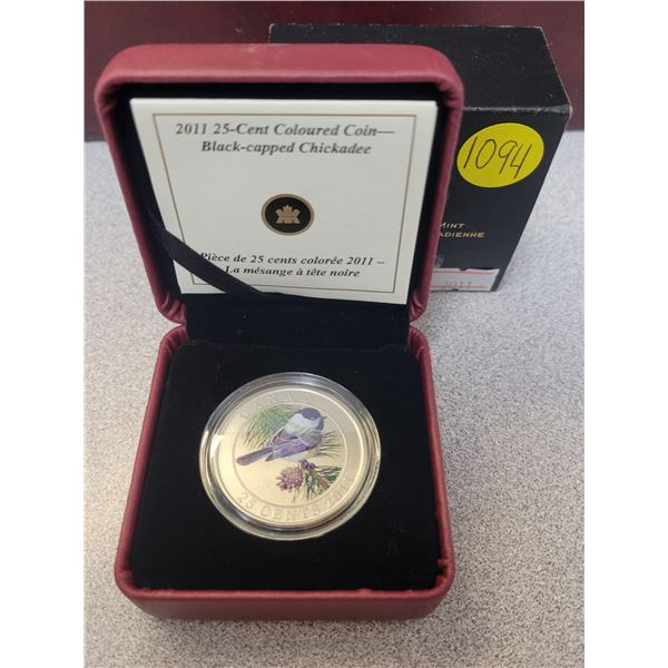 2011 25¢ coloured coin - Black capped Chikadee
