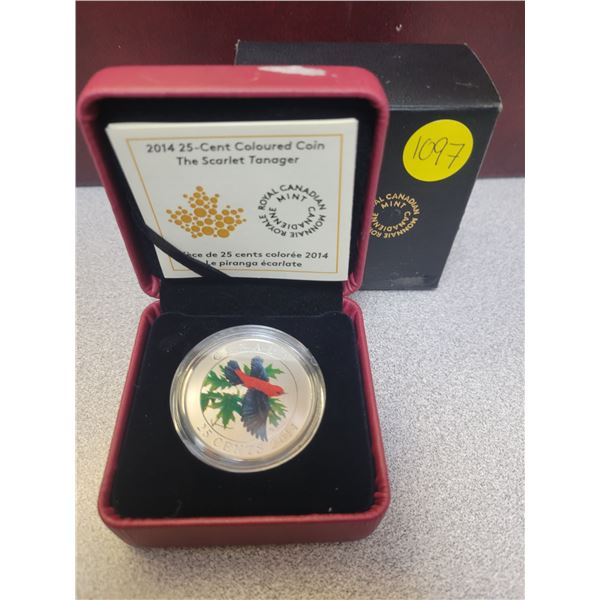 2014 25¢ coloured coin - The Scarlet Tanager