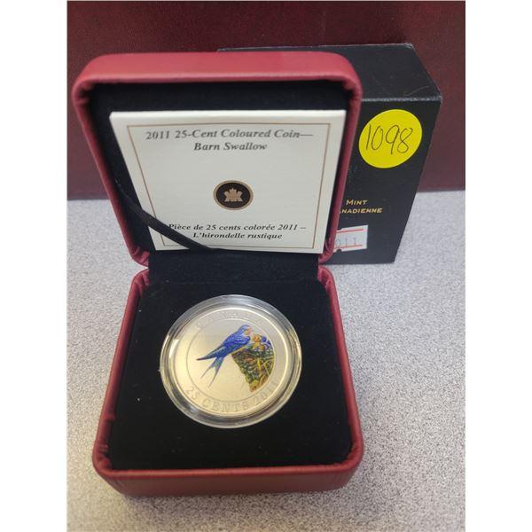 2011 25¢ coloured coin - Barn Swallow