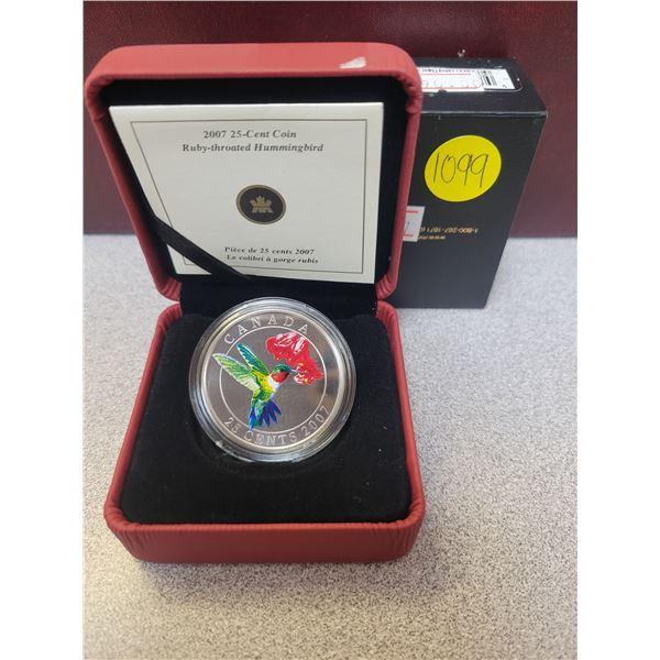 2007 25¢ coin Ruby-throated Hummingbird