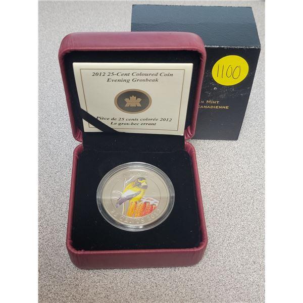2012 25¢ coloured coin - Evening Grosbeak