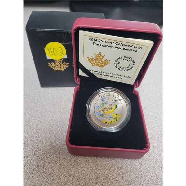 2014 25¢ coloured coin - Birds of Canada: Eastern Meadowlark