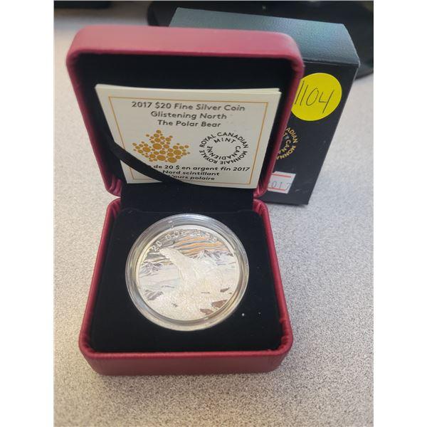 2017$20 fine silver coin - Glistening North: The Polar Bear 99.99% pure silver