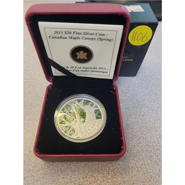 2014 $20 fine silver coin - Maple Canopy  - Spring Splendour