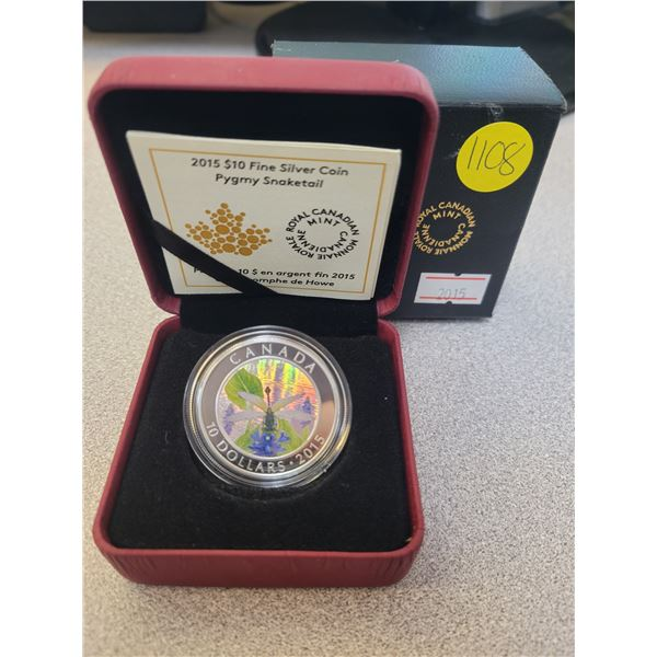 2015 $10 fine silver coin - Dragonfly - Pygmy Snaketail
