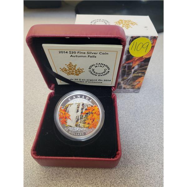 2014 $20 fine silver coin (99.99% pure) Autumn Falls