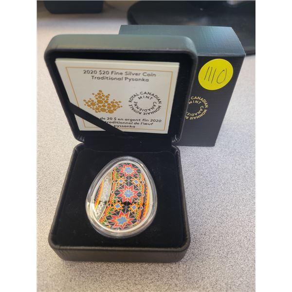 2020 $20 fine silver coin - Traditional Pysanka (99.99% pure)