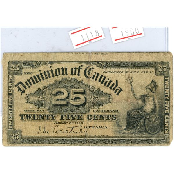 Canada 1900 25 cent bank note