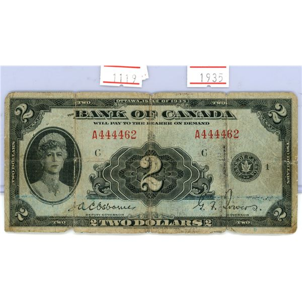 1935 Canada $2.00 bank note Queen Mary