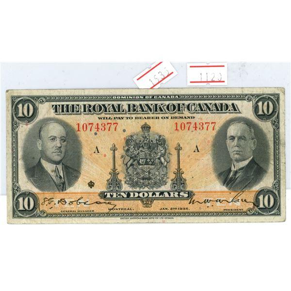 1935 Royal Bank of Canada $10 note
