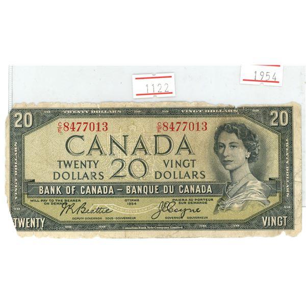 """1954 Canada $20.00 bank note """"Devil's face"""" portrait"""