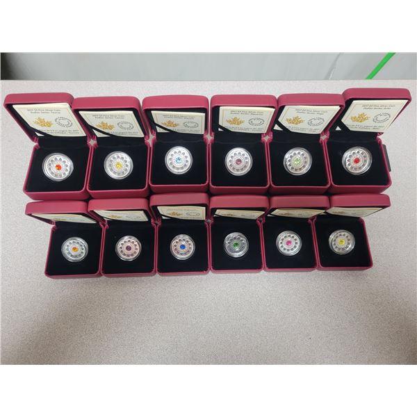 Set of 12 2017 $3.00 fine silver 'Zodiac Series' coins - 99.99% pure