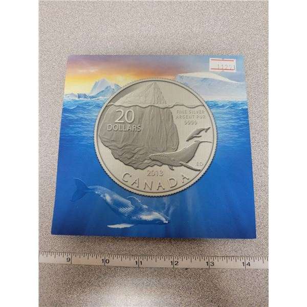 2013 $20 for $20 fine silver whale coin Canada