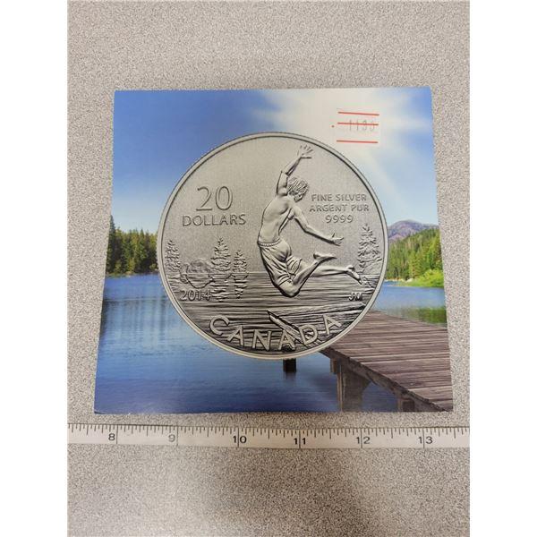 2014 $20 for $20 fine silver Swimming coin Canada