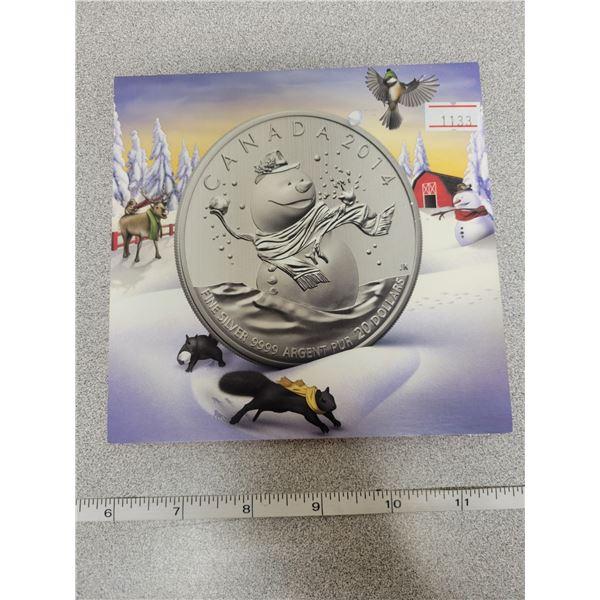 2014 $20 for $20 fine silver Snow Man Canada