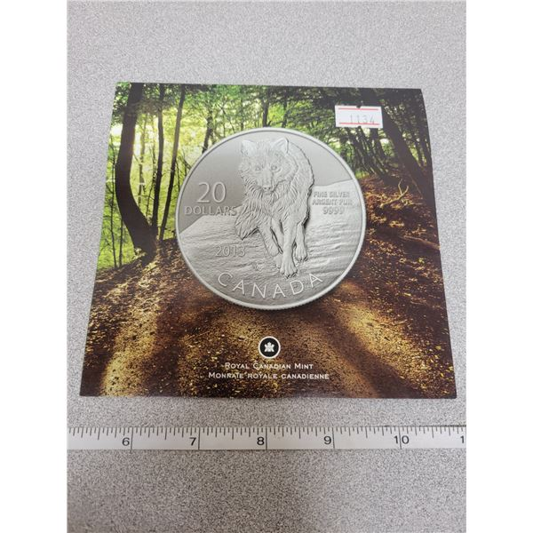 2013 $20 for $20 fine silver Wolf coin Canada