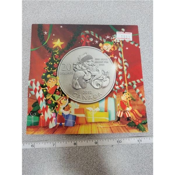 2013 $20 for $20 fine silver Santa Claus coin Canada