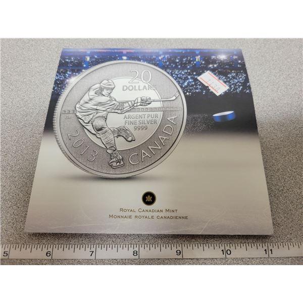 2013 $20 for $20 fine silver Hockey coin Canada