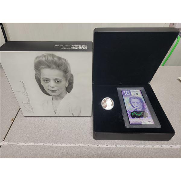 2019 $20 fine silver coin & $10 bill Viola Desmond