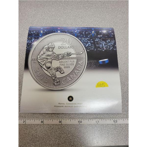 2013 $20 fine silver coin - Hockey
