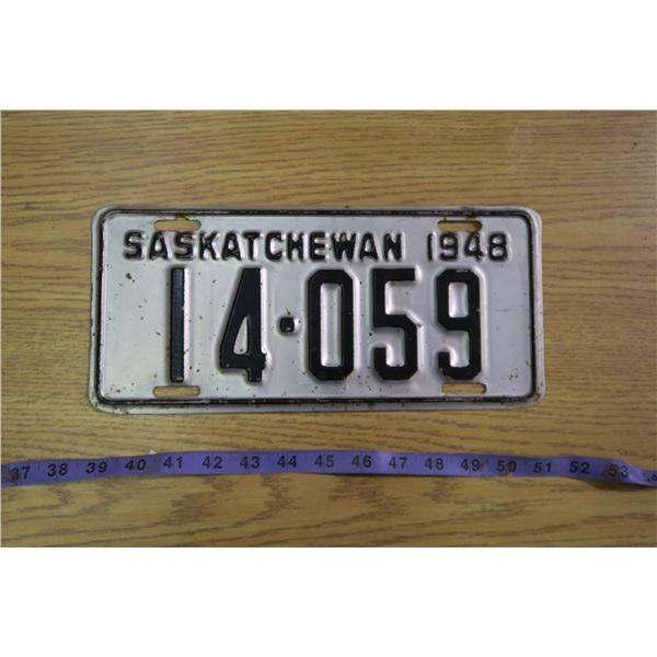 1948 Saskatchewan Licence Plate