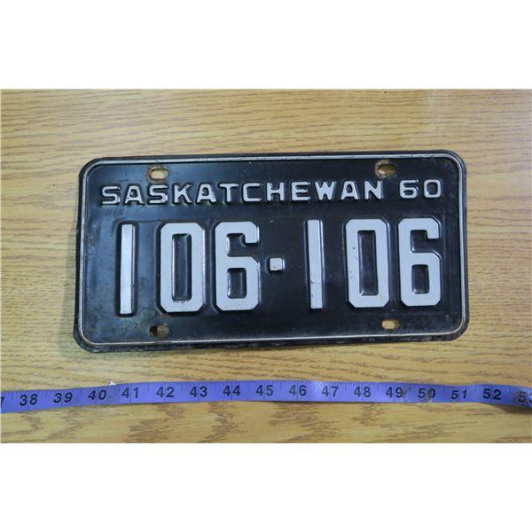 1960 Saskatchewan Licence Plate