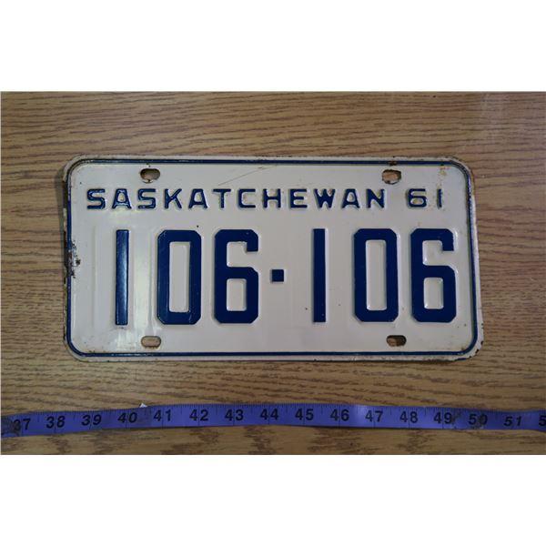 1961 Saskatchewan Licence Plate