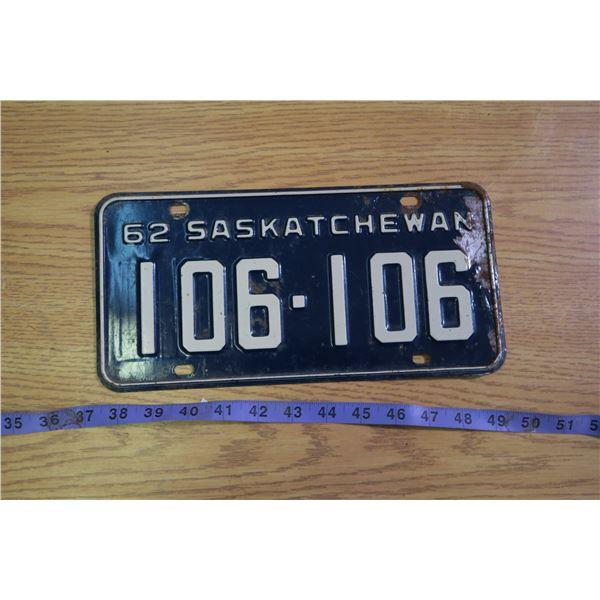 1962 Saskatchewan Licence Plate