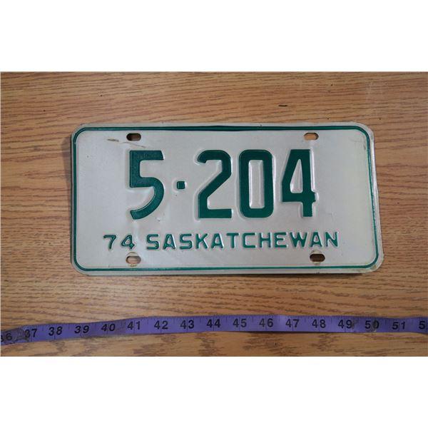 1974 Saskatchewan Licence Plate