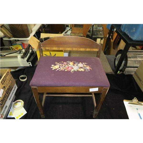 Wooden Upholstered Vanity Bench, Floral Pattern