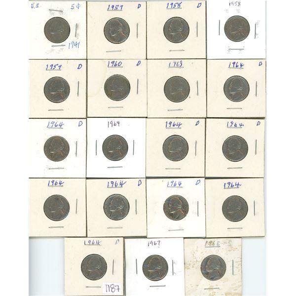 19 US liberty nickels - 1941-1968 assorted