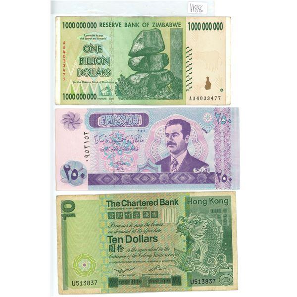 3 foreign bills, Iraq 250 Dinars with Saddam Hussein on bill, Hong Kong ten dollars, Zimbabwe one bi