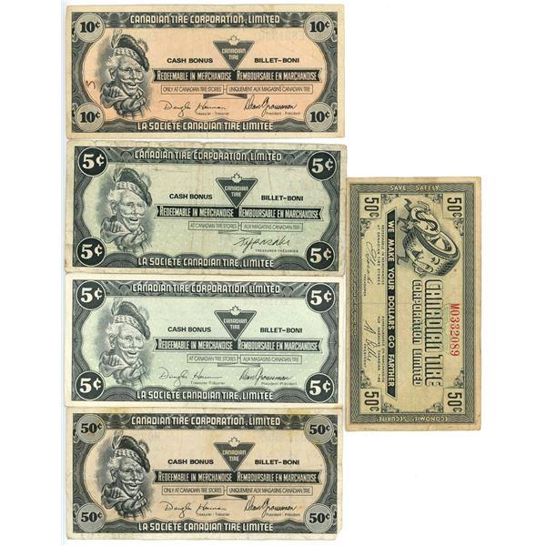 5 vintage Canadian Tire money bills