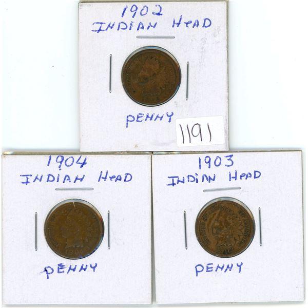 1902 1903 & 1904 Indian Head Pennies