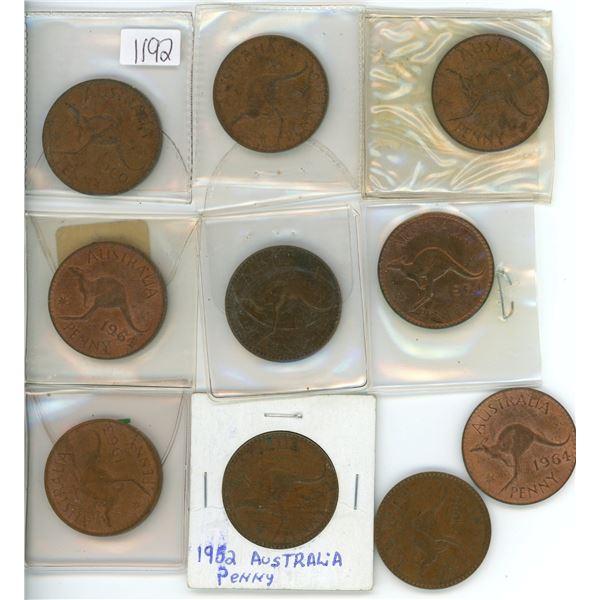 10 Austrailian pennies, various dates