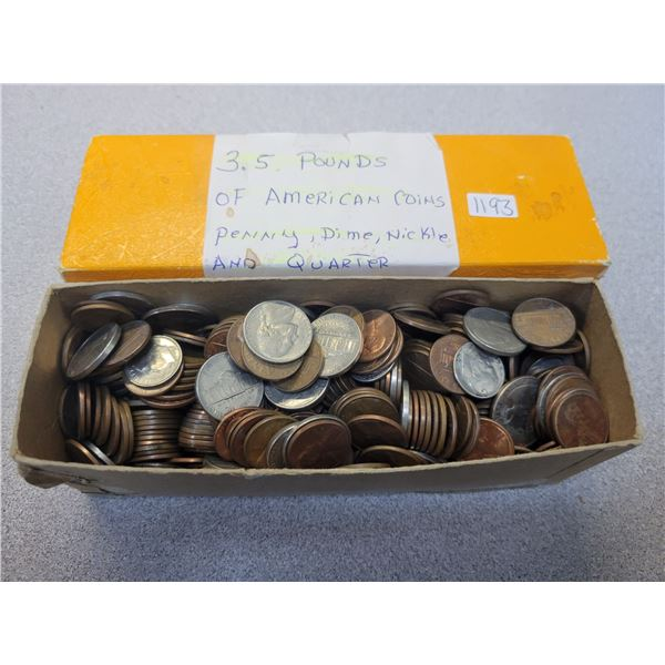 3.5 lbs of American coins, pennies, dimes, nickels, and quarters