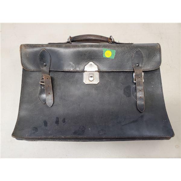 vintage black leather bag / briefcase 1920's