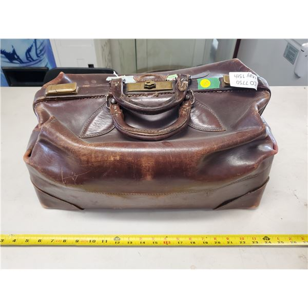 vintage brown leather clutch bag 1930's