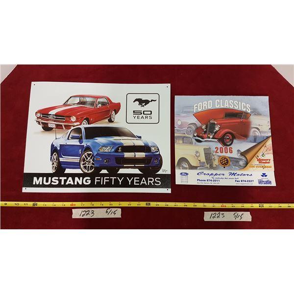 Mustang Tin Sign & Calendar