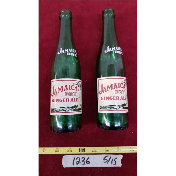 2 Jamaica Dry Ginger Ale Bottles