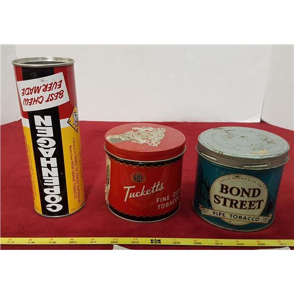 3 Tobacco Tins