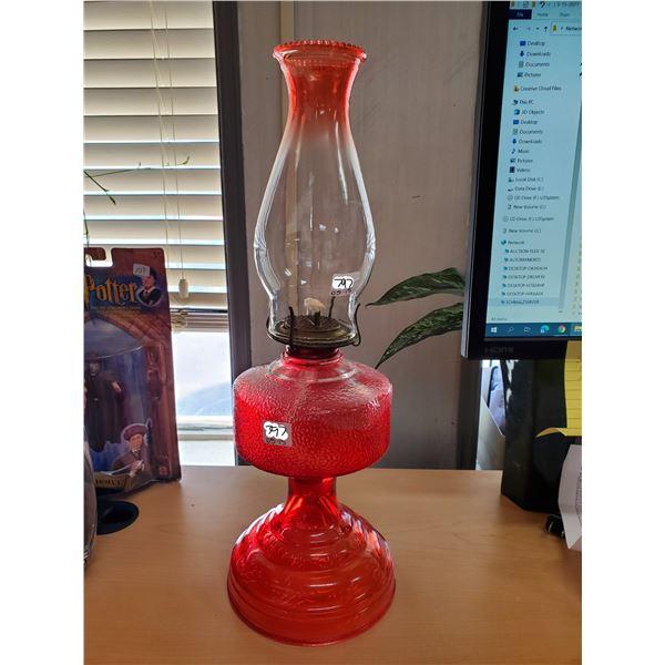 Red coal oil lamp w/ chimney