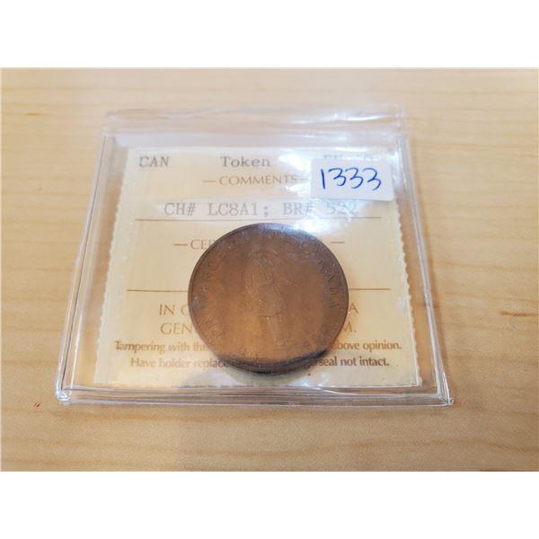 1837 half penny bank token iccs ef-40