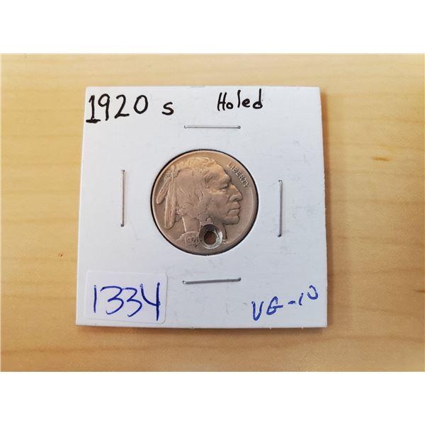 1920 buffalo nickel (holed)