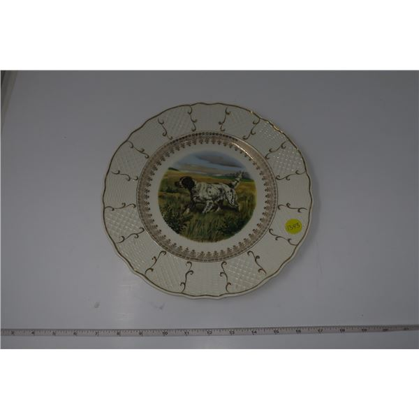 Decorative Plate with Dog Painting