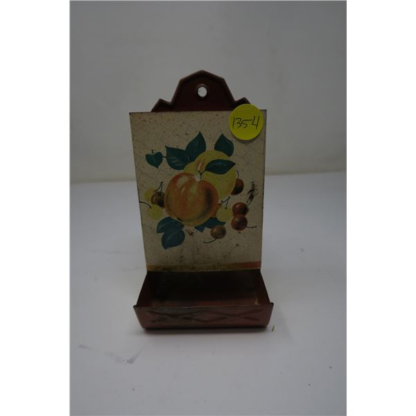 Tin Matchbox Holder Peach Picture
