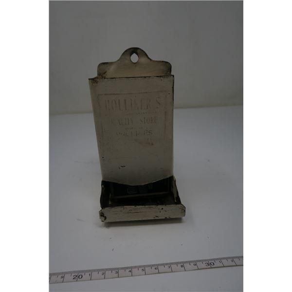 Tin Matchbox Holder with Matchbox and Matches
